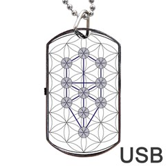 Tree Of Life Flower Of Life Stage Dog Tag Usb Flash (two Sides) by Nexatart
