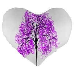 Purple Tree Large 19  Premium Heart Shape Cushions by Nexatart