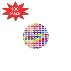 Heart Love Color Colorful 1  Mini Buttons (100 Pack)  by Nexatart