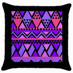 Seamless Purple Pink Pattern Throw Pillow Case (Black)