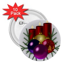 Candles Christmas Tree Decorations 2 25  Buttons (10 Pack)  by Nexatart