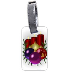 Candles Christmas Tree Decorations Luggage Tags (one Side)  by Nexatart