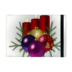 Candles Christmas Tree Decorations Apple Ipad Mini Flip Case by Nexatart