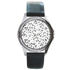 Paisley Floral Flourish Decorative Round Metal Watch by Nexatart