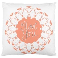 Mandala I Love You Large Flano Cushion Case (two Sides) by Nexatart