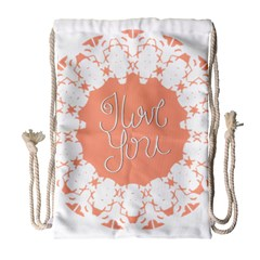 Mandala I Love You Drawstring Bag (large) by Nexatart