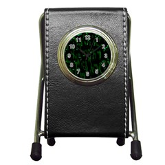 Abstract Art Background Green Pen Holder Desk Clocks by Nexatart