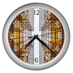 Architecture Facade Buildings Windows Wall Clocks (silver)  by Nexatart