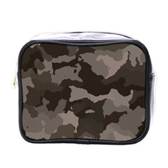 Background For Scrapbooking Or Other Camouflage Patterns Beige And Brown Mini Toiletries Bags by Nexatart
