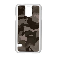 Background For Scrapbooking Or Other Camouflage Patterns Beige And Brown Samsung Galaxy S5 Case (white) by Nexatart