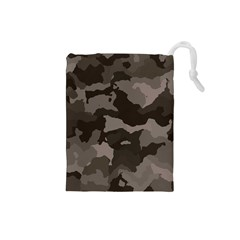 Background For Scrapbooking Or Other Camouflage Patterns Beige And Brown Drawstring Pouches (small)  by Nexatart