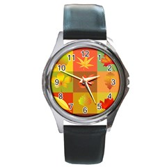 Autumn Leaves Colorful Fall Foliage Round Metal Watch by Nexatart