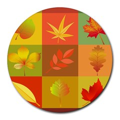 Autumn Leaves Colorful Fall Foliage Round Mousepads by Nexatart