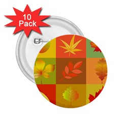 Autumn Leaves Colorful Fall Foliage 2 25  Buttons (10 Pack)  by Nexatart