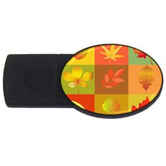 Autumn Leaves Colorful Fall Foliage Usb Flash Drive Oval (2 Gb) by Nexatart