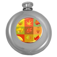 Autumn Leaves Colorful Fall Foliage Round Hip Flask (5 Oz) by Nexatart