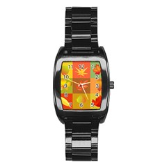Autumn Leaves Colorful Fall Foliage Stainless Steel Barrel Watch by Nexatart