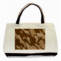 Background For Scrapbooking Or Other Beige And Brown Camouflage Patterns Basic Tote Bag by Nexatart