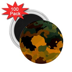 Background For Scrapbooking Or Other Camouflage Patterns Orange And Green 2 25  Magnets (100 Pack)  by Nexatart