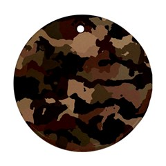 Background For Scrapbooking Or Other Camouflage Patterns Beige And Brown Round Ornament (two Sides) by Nexatart