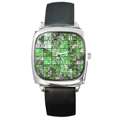Background Of Green Squares Square Metal Watch by Nexatart