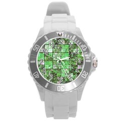 Background Of Green Squares Round Plastic Sport Watch (l) by Nexatart