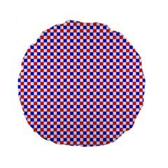 Blue Red Checkered Standard 15  Premium Flano Round Cushions by Nexatart
