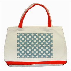 Blue Polkadot Background Classic Tote Bag (Red)