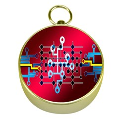 Board Circuits Trace Control Center Gold Compasses by Nexatart
