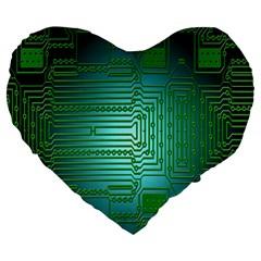 Board Conductors Circuits Large 19  Premium Flano Heart Shape Cushions by Nexatart