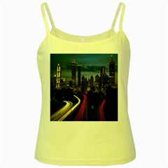 Building And Red And Yellow Light Road Time Lapse Yellow Spaghetti Tank by Nexatart