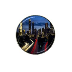 Building And Red And Yellow Light Road Time Lapse Hat Clip Ball Marker by Nexatart