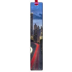 Building And Red And Yellow Light Road Time Lapse Large Book Marks by Nexatart