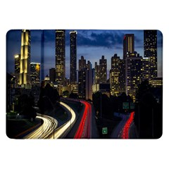 Building And Red And Yellow Light Road Time Lapse Samsung Galaxy Tab 8 9  P7300 Flip Case by Nexatart