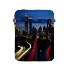 Building And Red And Yellow Light Road Time Lapse Apple Ipad 2/3/4 Protective Soft Cases by Nexatart