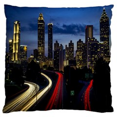Building And Red And Yellow Light Road Time Lapse Large Flano Cushion Case (two Sides) by Nexatart