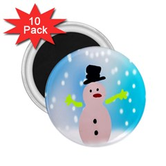 Christmas Snowman 2 25  Magnets (10 Pack)  by Nexatart