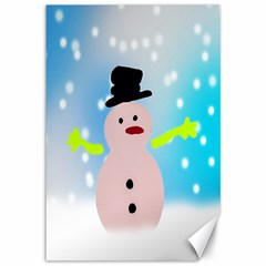 Christmas Snowman Canvas 12  X 18   by Nexatart