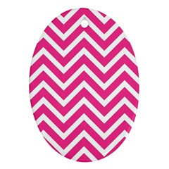 Chevrons Stripes Pink Background Ornament (Oval)