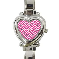 Chevrons Stripes Pink Background Heart Italian Charm Watch by Nexatart