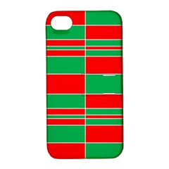 Christmas Colors Red Green Apple Iphone 4/4s Hardshell Case With Stand by Nexatart