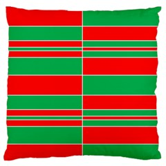 Christmas Colors Red Green Large Flano Cushion Case (two Sides) by Nexatart