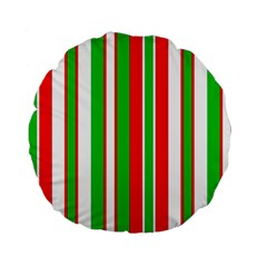 Christmas Holiday Stripes Red Green,white Standard 15  Premium Round Cushions by Nexatart