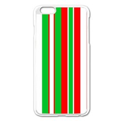 Christmas Holiday Stripes Red Green,white Apple Iphone 6 Plus/6s Plus Enamel White Case by Nexatart