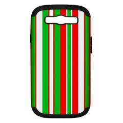 Christmas Holiday Stripes Red Green,white Samsung Galaxy S Iii Hardshell Case (pc+silicone) by Nexatart