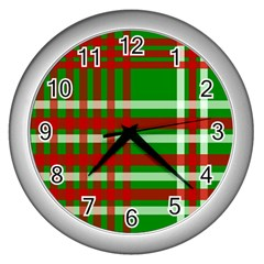 Christmas Colors Red Green White Wall Clocks (silver)  by Nexatart