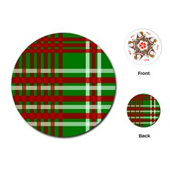 Christmas Colors Red Green White Playing Cards (round)  by Nexatart