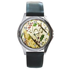 Christmas Ribbon Background Round Metal Watch by Nexatart
