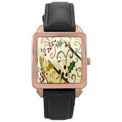 Christmas Ribbon Background Rose Gold Leather Watch  by Nexatart