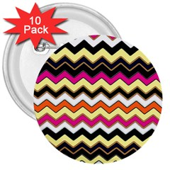 Colorful Chevron Pattern Stripes 3  Buttons (10 Pack)  by Nexatart